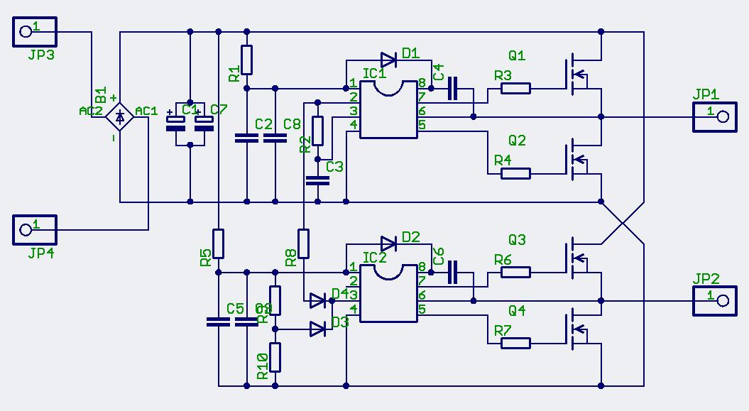 Схема питается от сети с напряжением 220 В. Микросхема-драйвер IR2153 управляет силовыми.